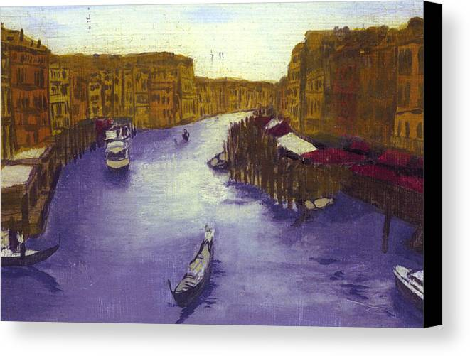 Landscape Canvas Print featuring the painting After The Grand Canal From The Rialto Bridge by Hyper - Canaletto