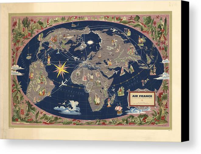 Air France - Illustrated Map Of The Air Routes By Lucien Boucher ...