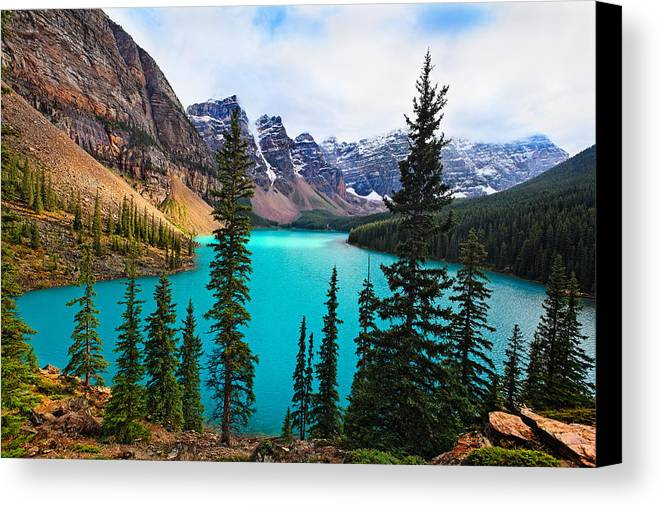 Alberta Canvas Print featuring the photograph Alpine Scenic Moraine Lake Alberta Canada by George Oze