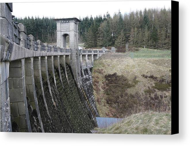 Dams Canvas Print featuring the photograph Alwen Reservoir Dam by Christopher Rowlands