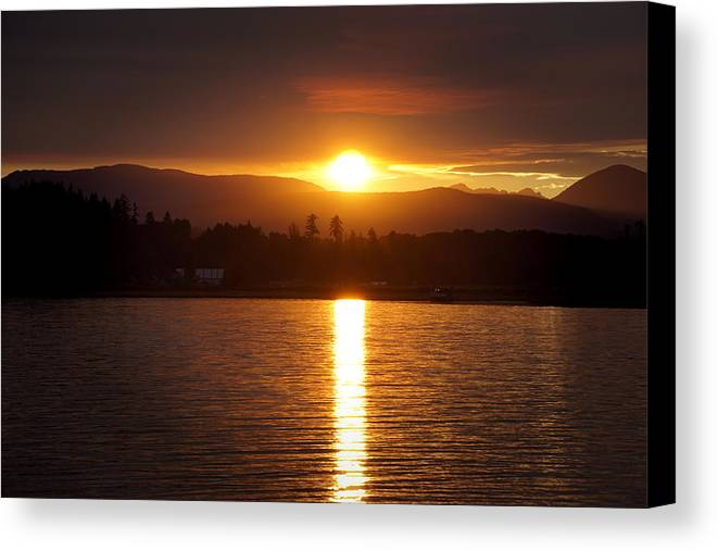 Sunset Canvas Print featuring the photograph Amber Sunset by Wayne Enslow