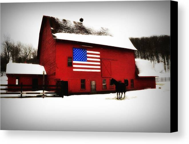 America Canvas Print featuring the photograph American Barn by Bill Cannon