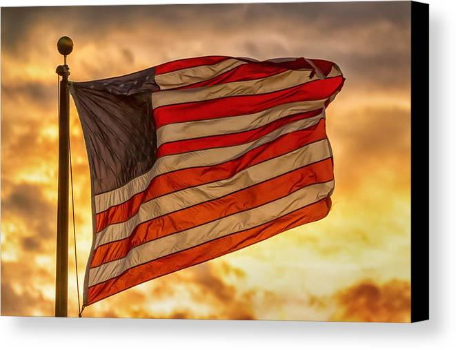 Flag Canvas Print featuring the photograph American Sunset On Fire by James BO Insogna