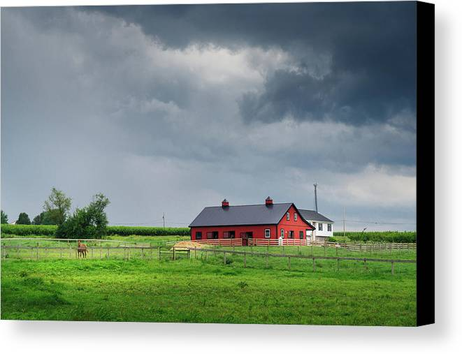 Amish Canvas Print featuring the photograph Amish County Landscape by Sinitar Photo
