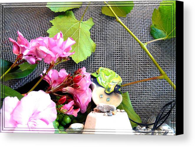 Flower Canvas Print featuring the photograph Among Leaves And Flowers by Chara Giakoumaki