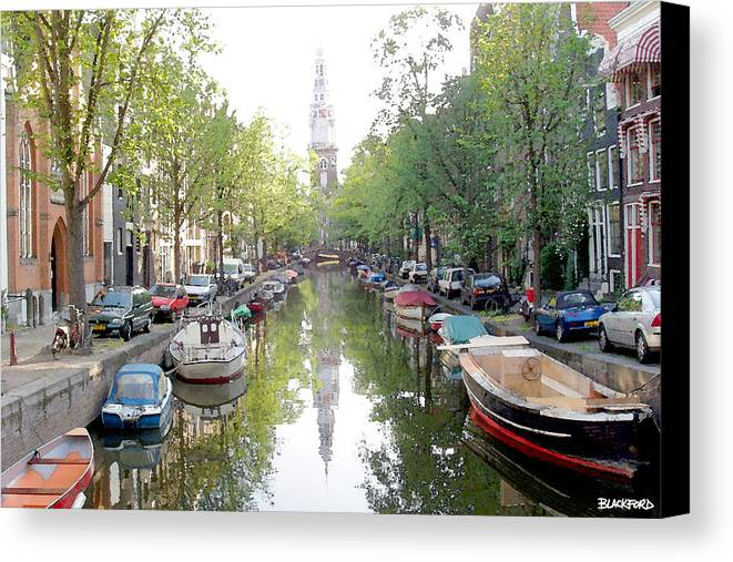 Amsterdam Canvas Print featuring the digital art Amsterdam Canal by Al Blackford