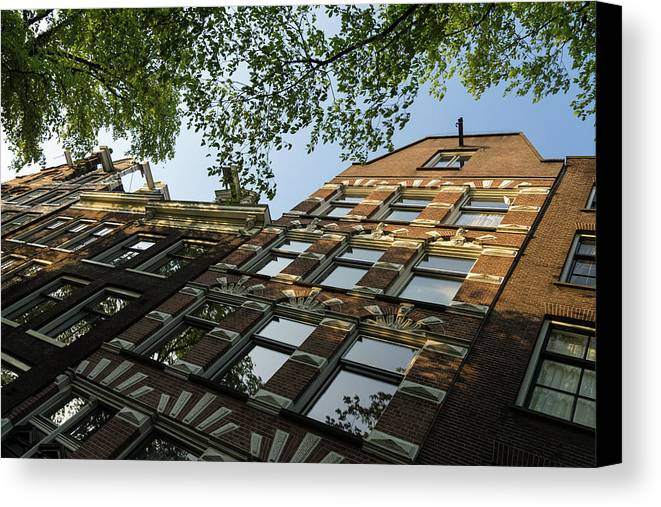 Georgia Mizuleva Canvas Print featuring the photograph Amsterdam Spring - Fancy Brickwork Glow - Right Horizontal by Georgia Mizuleva