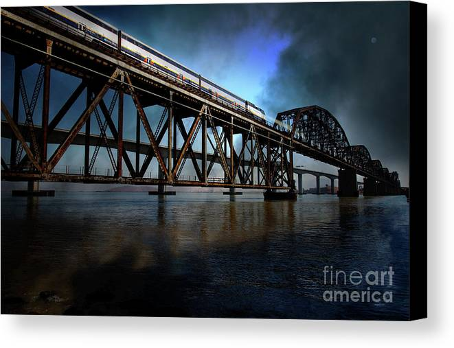 Wingsdomain Canvas Print featuring the photograph Amtrak Midnight Express 5d18829 by Wingsdomain Art and Photography