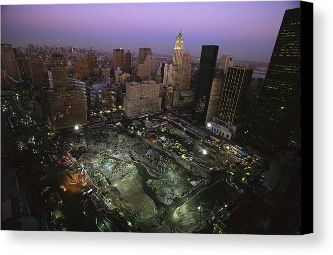 Disasters Canvas Print featuring the photograph An Aerial View Of Ground Zero by Ira Block