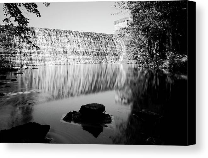 Dam Canvas Print featuring the photograph An Iowa Beauty Bnw by Bonfire Photography
