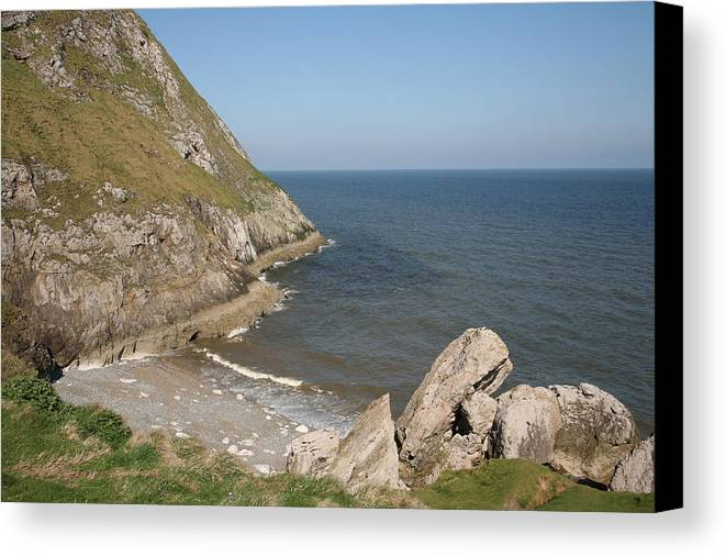 Cliffs Canvas Print featuring the photograph Angel Bay. Little Orme. by Christopher Rowlands