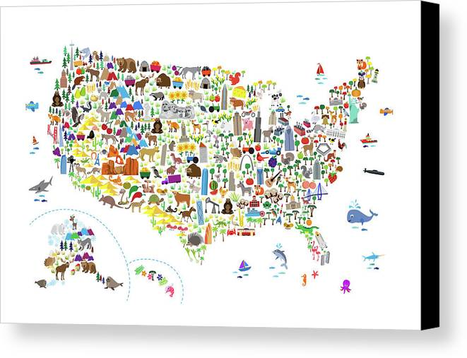 Animal Map Of United States For Children And Kids Canvas Print ...