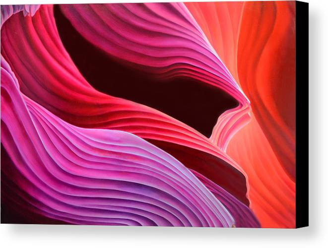 Antelope Canyon Canvas Print featuring the painting Antelope Waves by Anni Adkins