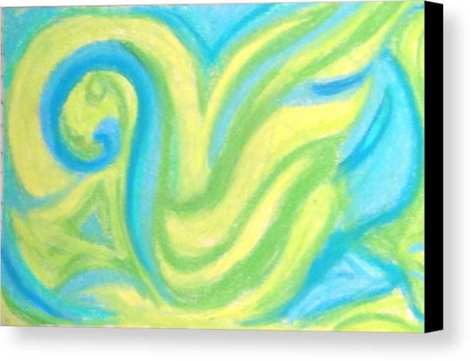 Chalk Canvas Print featuring the pastel Aqua Duck by Roy Hummel