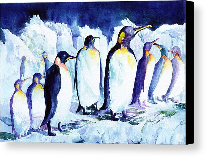 Penquins Canvas Print featuring the painting Arctic Penquins by Connie Williams