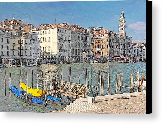 Europe Canvas Print featuring the digital art Artist Impression Of Venice by Johan Elzenga