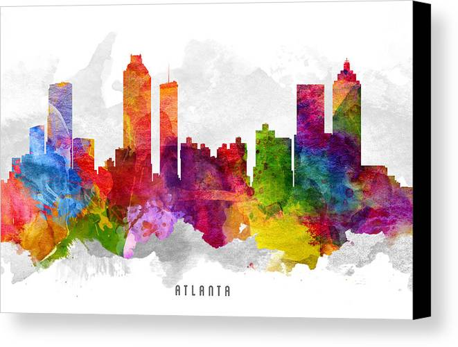 Atlanta Canvas Print featuring the painting Atlanta Georgia Cityscape 13 by Aged Pixel