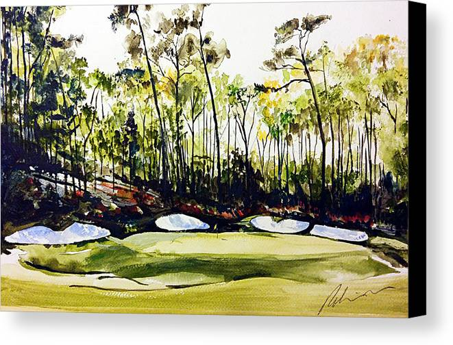 Augusta National 13th Canvas Print featuring the painting Augusta 2 by Mark Robinson