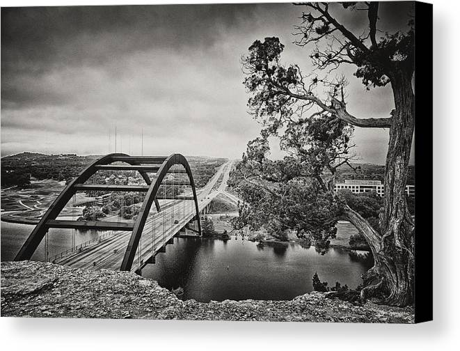 360 Bridge Canvas Print featuring the photograph Austin 360 Bridge In Early Dawn by Lisa Spencer