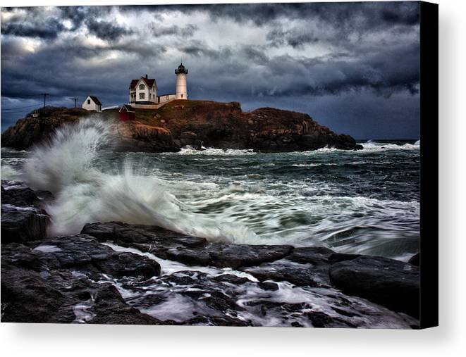 Maine Canvas Print featuring the photograph Autumn Storm At Cape Neddick by Rick Berk