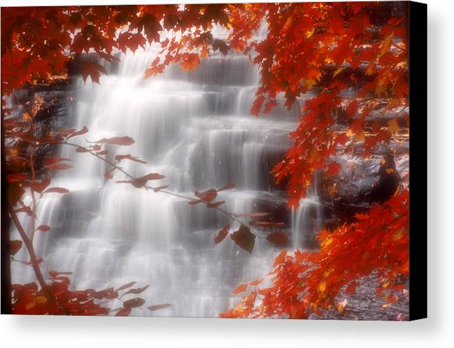 Autumn Canvas Print featuring the photograph Autumn Waterfall I by Kenneth Krolikowski