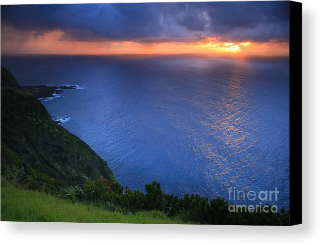 Island Canvas Print featuring the photograph Azores Islands Sunset by Gaspar Avila