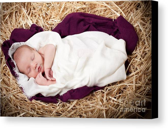Nativity Canvas Print featuring the photograph Baby Jesus Nativity by Cindy Singleton