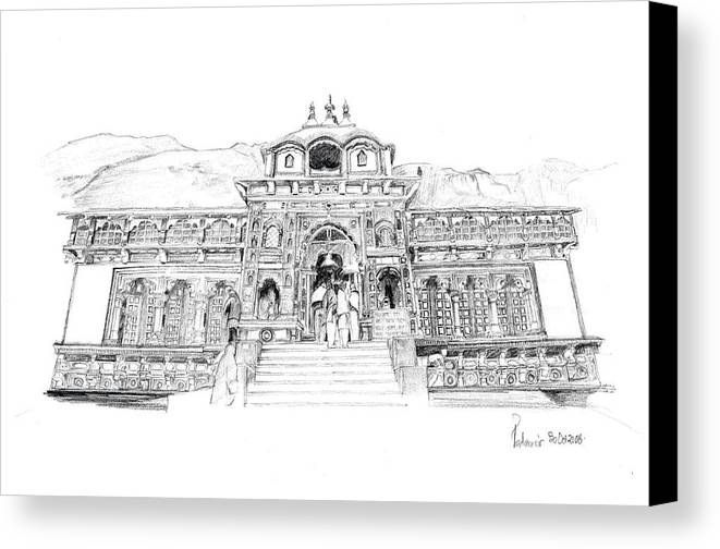 Landscape Canvas Print featuring the drawing Badrinath by Padamvir Singh
