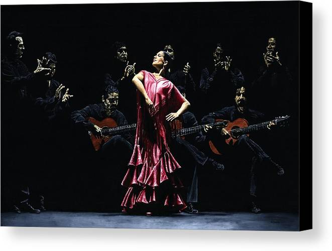 Flamenco Canvas Print featuring the painting Bailarina Orgullosa Del Flamenco by Richard Young