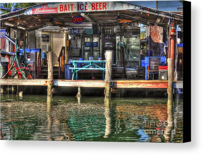 Bait Canvas Print featuring the photograph Bait Ice Beer Shop On Bay by Dan Friend