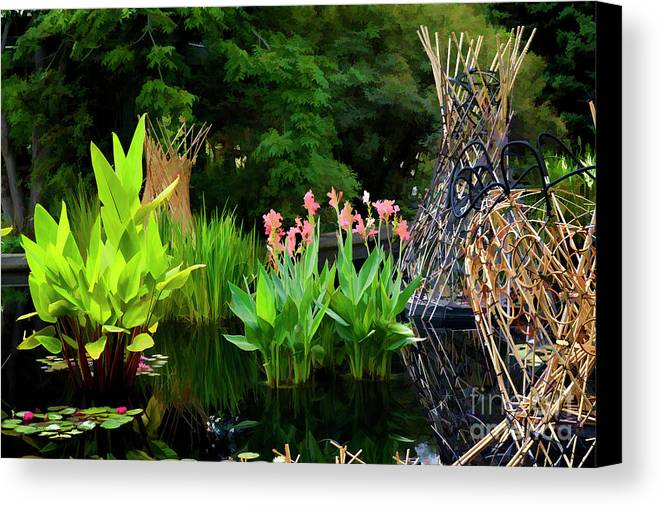 Bamboo Canvas Print featuring the photograph Bamboo And Flowers by Larry Dove