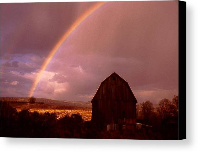 Harvest Canvas Print featuring the photograph Barn And Rainbow In Autumn by Roger Soule