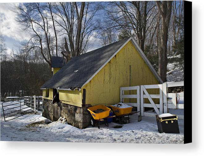 Horse Canvas Print featuring the photograph Barn In Winter by Jack Goldberg