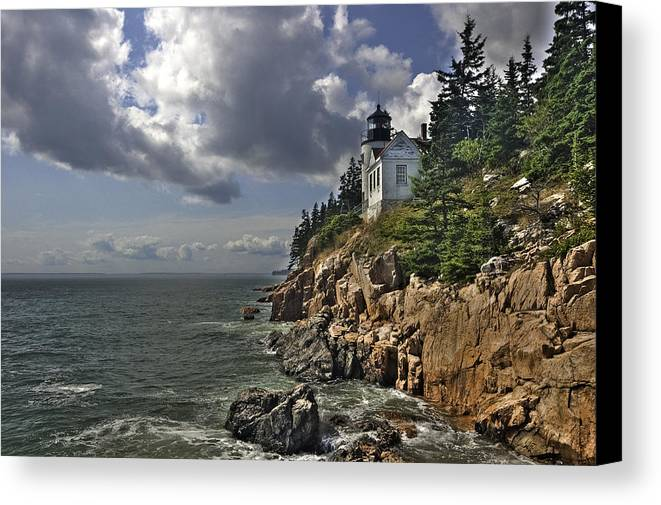 Lighthouse Canvas Print featuring the photograph Bass Harbor Lighthouse by Andreas Freund