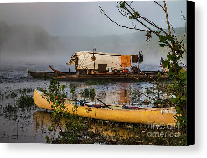 Batteau Canvas Print featuring the photograph Batteau And Canoe In Fog At Galt's Mill 1708 by Doug Berry