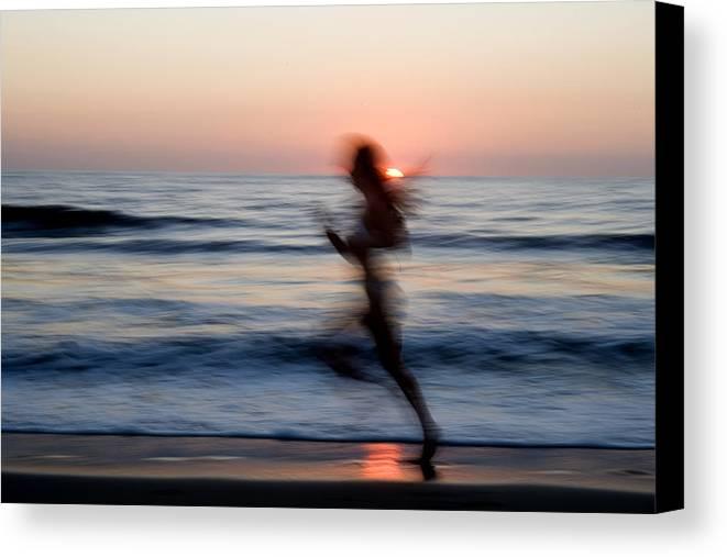 Run Canvas Print featuring the photograph Beach Sprint by Brad Rickerby