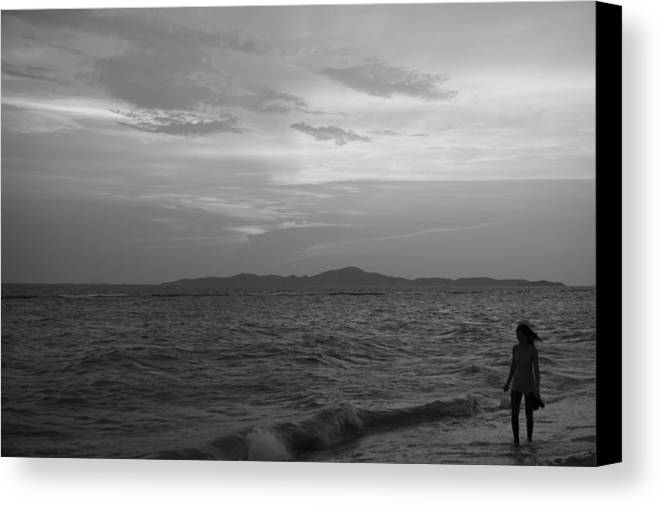 Black White Canvas Print Featuring The Photograph Beach Sunset Girl And 8403