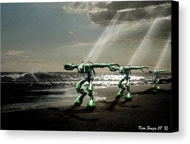Beach Canvas Print featuring the digital art Beach Visitors by Kim Souza