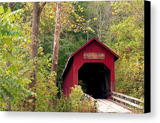 Covered Bridge Canvas Print featuring the photograph Bean Blossom Bridge II by Margie Wildblood