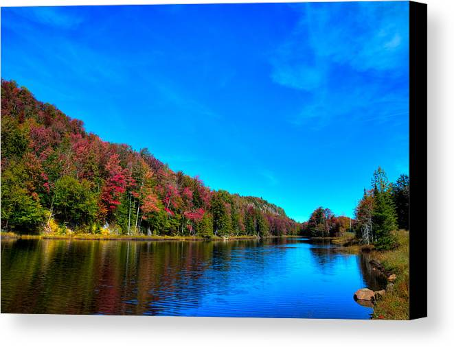 Beautiful Autumn Reflections On Bald Mountain Pond Canvas Print featuring the photograph Beautiful Autumn Reflections On Bald Mountain Pond by David Patterson
