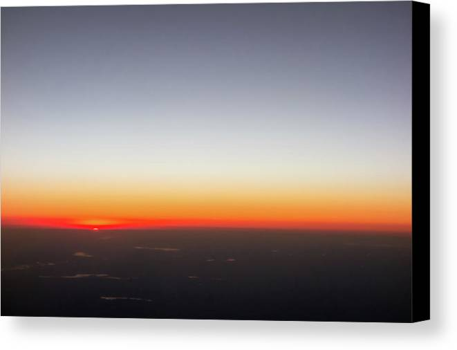 View Canvas Print featuring the photograph Beautiful Sunset View From An Airplane Over Land by Alex Grichenko