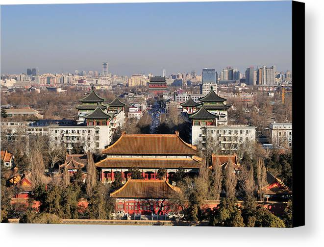 Horizontal Canvas Print featuring the photograph Beijing Central Axis Skyline, China by Huang Xin