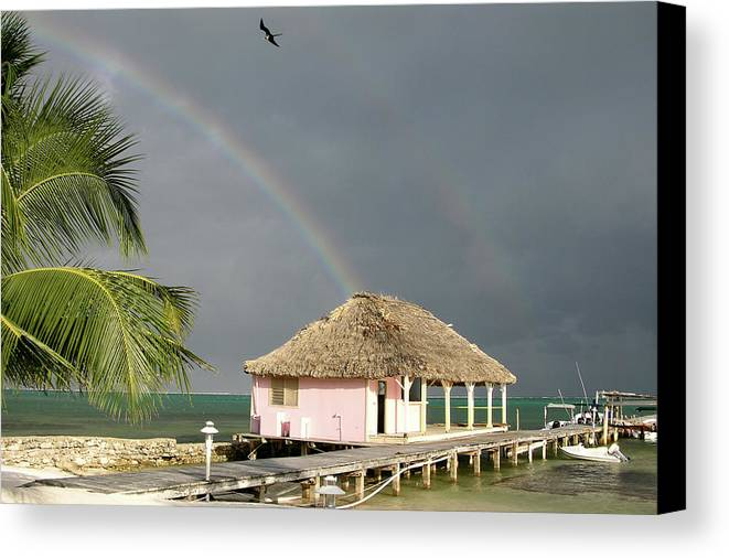 Pier Canvas Print featuring the photograph Belize Double Rainbow by Jessica Estrada