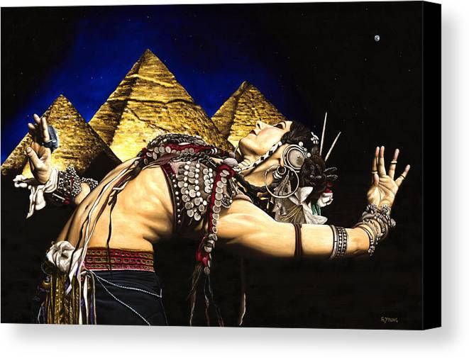 Bellydance Canvas Print featuring the painting Bellydance Of The Pyramids - Rachel Brice by Richard Young