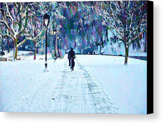 Bike Riding In The Snow Canvas Print featuring the photograph Bike Riding In The Snow by Bill Cannon