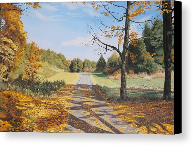 Landscapes Canvas Print featuring the painting Bill Mcmahon's Driveway by Kenneth Young