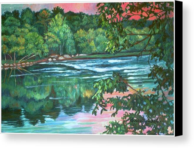 River Canvas Print featuring the painting Bisset Park Rapids by Kendall Kessler