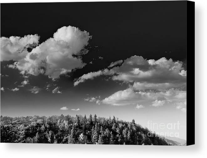 Black And White Canvas Print featuring the photograph Black And White Blue Ridge Mountains by Chip Laughton