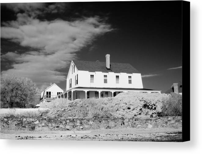 House Canvas Print featuring the photograph Black And White Image Of A House In New England In Infrared by David Thompson