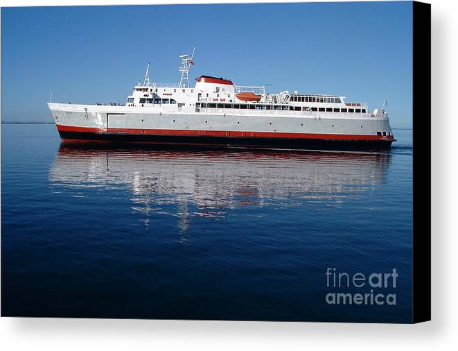 Boat Canvas Print featuring the photograph Black Ball Ferry by Larry Keahey